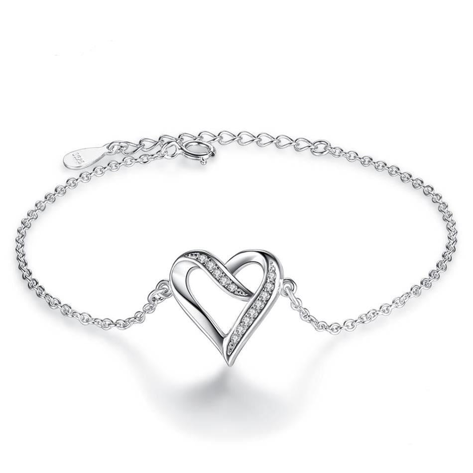 Sterling Silver Heart Chain Bracelet 1299