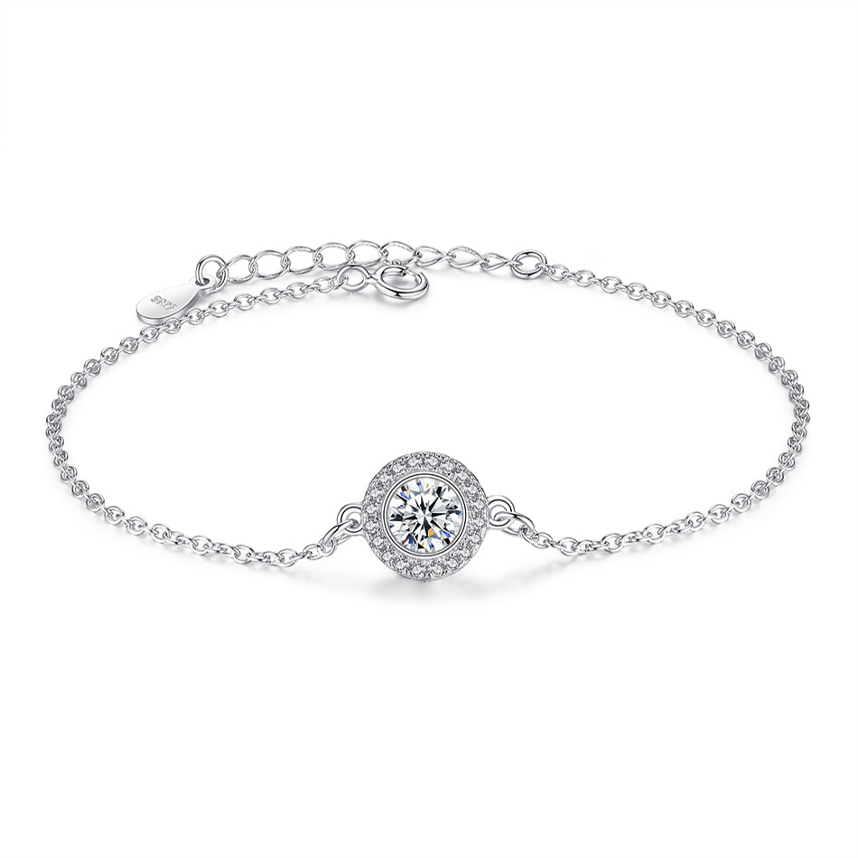 Big Sparking CZ on Sterling Silver Round Chain Bracelet 1000