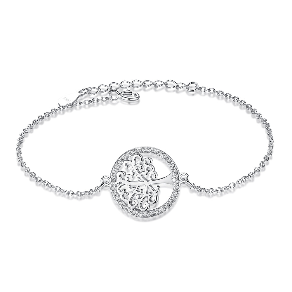 Sterling Silver Charm Bracelet Tree of Life with Cubic Zirconia 1298