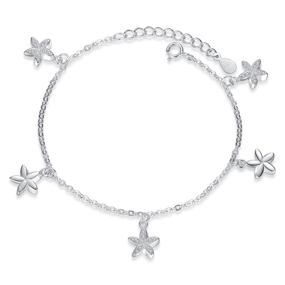 Sterling Silver Flower Crystal Bracelets 1288