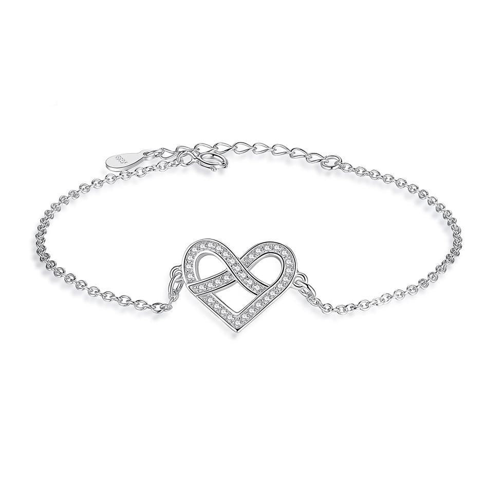 Sterling Silver Infinity & Heart Bracelet with Cubic Zirconia Crystal 1289