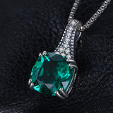 Sterling Silver Classic 2.1ct Cushion Emerald Pendant With Box Chain