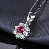 0.8ct Flower Ruby Halo Pendant - Without Chain 1476