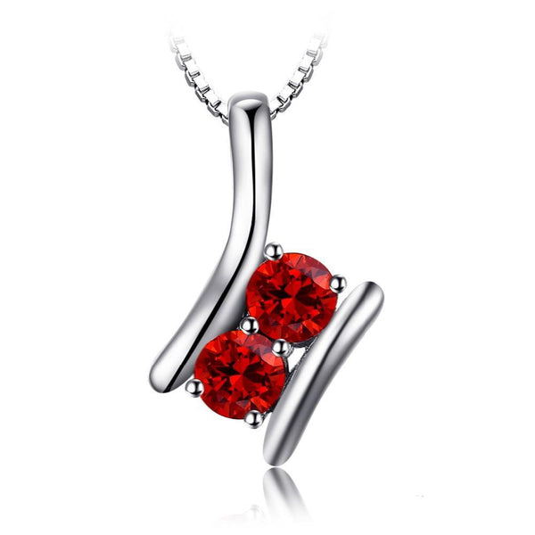 Sterling Silver 0.95ct Natural Red Garnet Pendant 1346