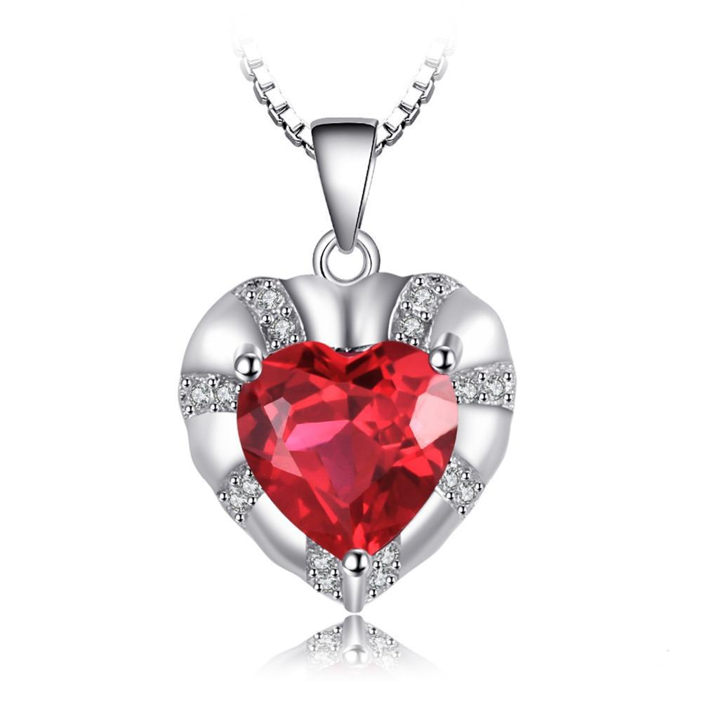 Heart 2.8ct Ruby Sterling Silver Pendant - Without Chain 1460