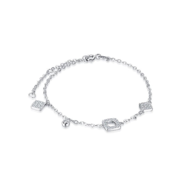 Cubic Zirconia Chain Bracelet with Sterling Silver 1355