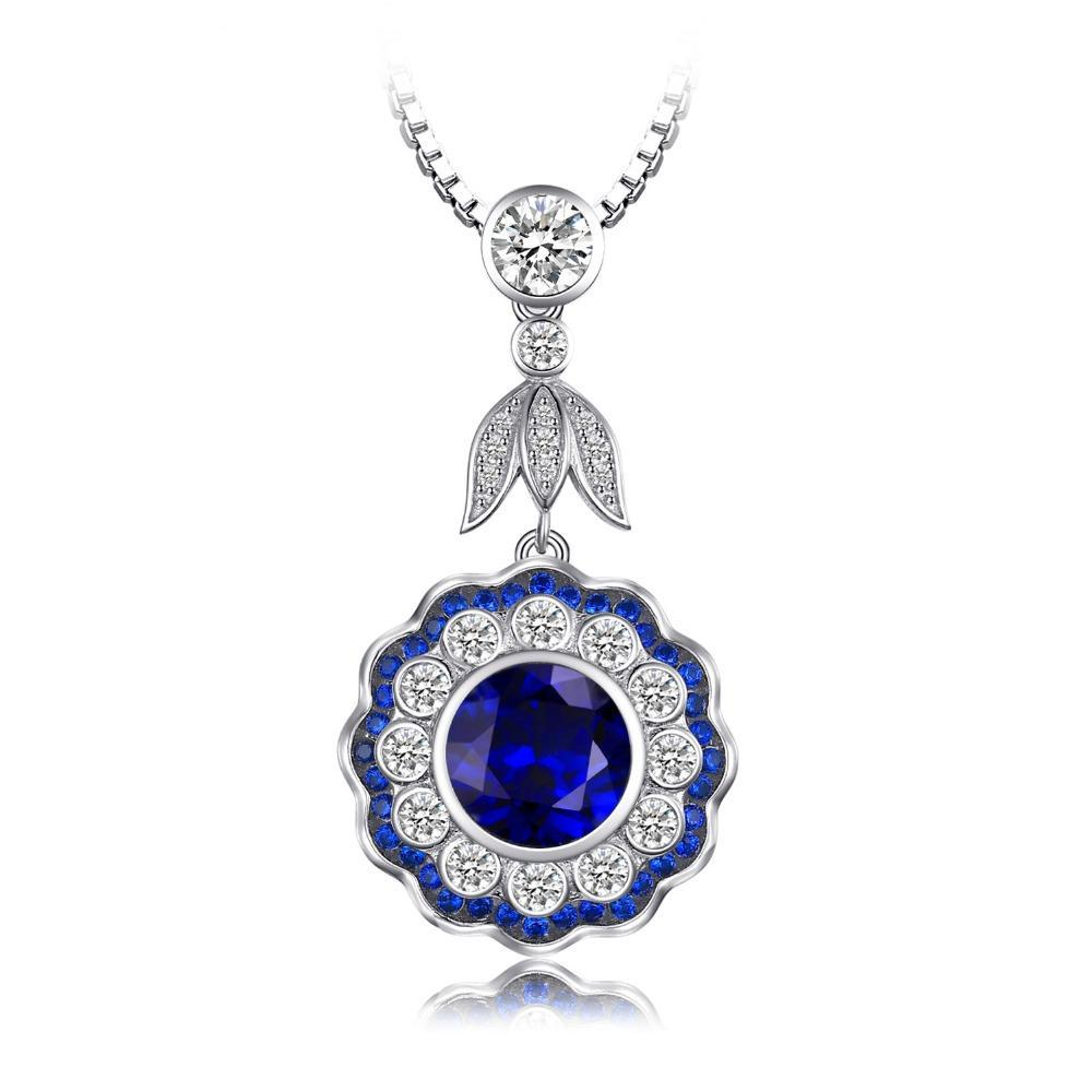 Sterling Silver 6.0ct Flower Sapphire Pendant - Without Chain 1403