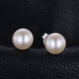 Pearl Button Ball Stud Sterling Silver Earrings 1361