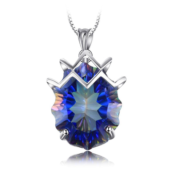 21ct Sterling Silver Rainbow Fire Mystic Topaz Gemstone Necklace 1447