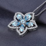 Sterling Silver Blue Topaz Flower Necklace 1332