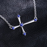 0.25ct Sterling Silver Sapphire Cross Necklace 1335