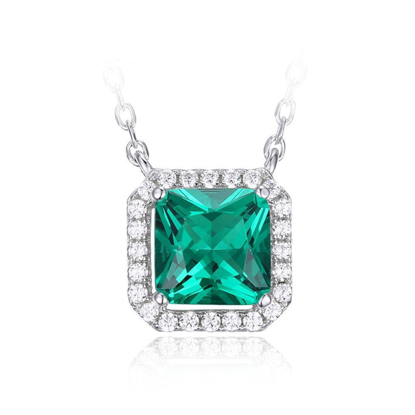 Square 1.2ct Sterling Silver Emerald Necklace 1349