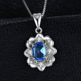 Vintage Box Chain Swiss Blue Topaz & Peridot Necklace 1329