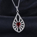 Sterling Silver Classic Carved 1.4ct Genuine Garnet Pendant - Without Chain 1405