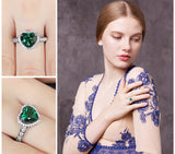 'Heart Of Ocean' 1.8ct Emerald Halo Promise Ring 1423