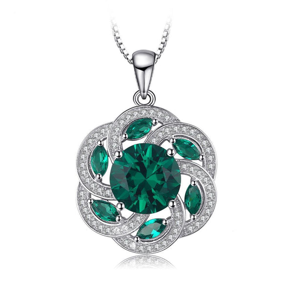 Vintage Flower 4.5ct Sterling Silver Simulated Emerald Pendant 1333