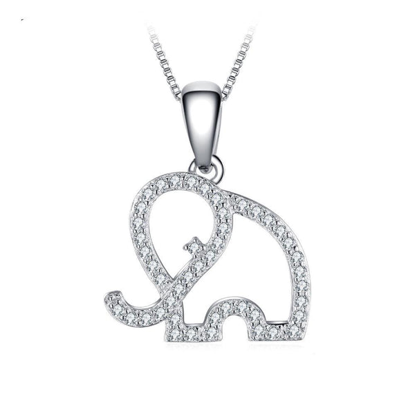 Sterling Silver Cubic Zirconia Elephant Pendant 1330