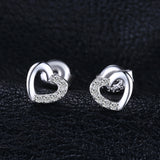 Heart Cubic Zirconia Stud Earrings with Sterling Silver 1358