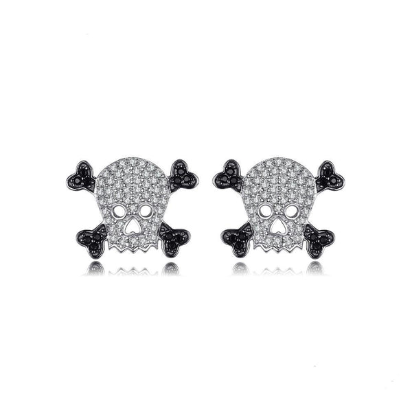 Sterling Silver Skull 0.4ct Genuine Spinel Stud Earrings 1365