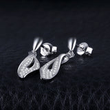lovely leaf 0.2ct Round Cubic Zirconia Sterling Silver Earrings 1363