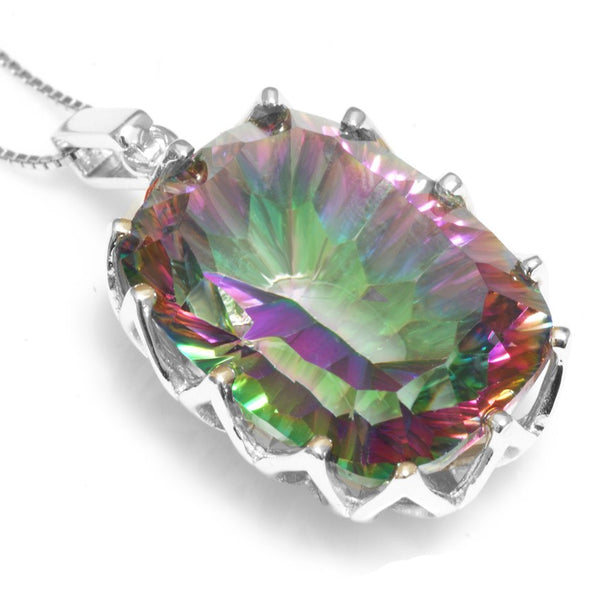 23ct Mystic Rainbow Topaz Pendent Necklace 1506