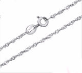 Pure 925 Sterling Silver Rope Chain Necklace 1409