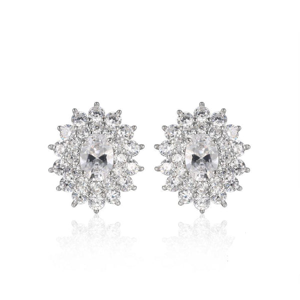 Cubic Zirconia Stud Earrings with Sterling Silver 1357