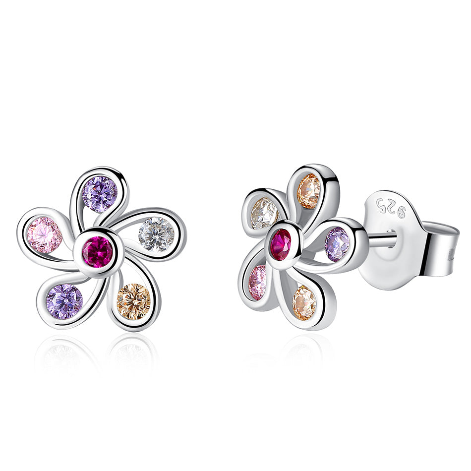 Beautiful Daisy Flower Earrings with Multicolor Zircon Stone