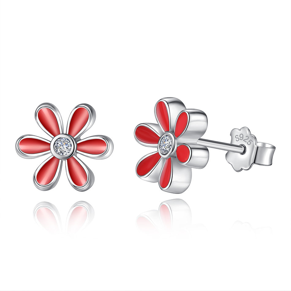 Beautiful Red Daisy Flower Earrings with CZ Crystal 1390
