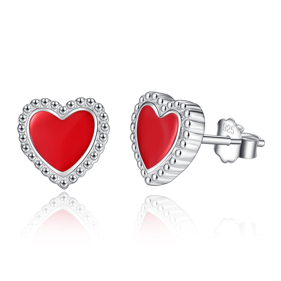 Exquisite Red Heart Sterling Silver Stud Earrings 1381