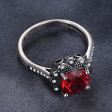 Vintage 3.4ct Square Red Ruby with Sterling Silver Ring 1418