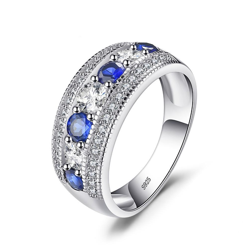 1.54ct Round Blue Sapphire Sterling Silver Ring 1416
