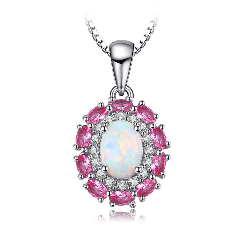 0.9ct Opal Inlay Pink Sapphire Pendant - Without Chain 1534