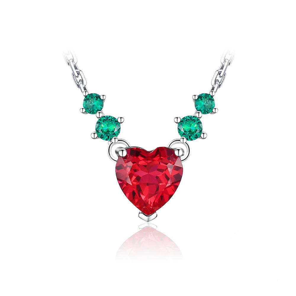 Sterling Silver 2.8ct Heart Love Emerald & Ruby Necklace 1444