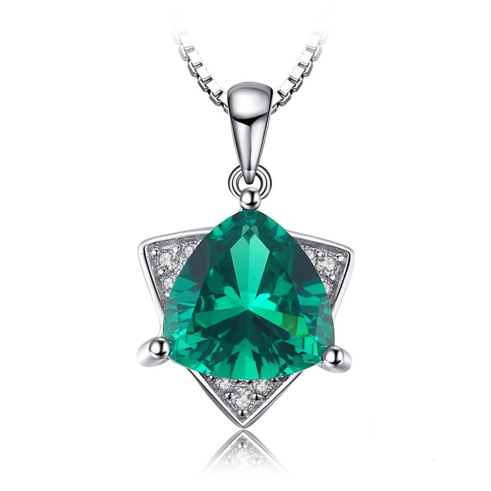 Triangle 1.68ct Emerald Pendant Necklace 1510