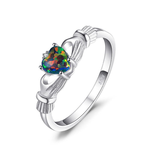 Heart Black Fire Opal Multicolor Irish Claddagh Rainbow Ring 1439