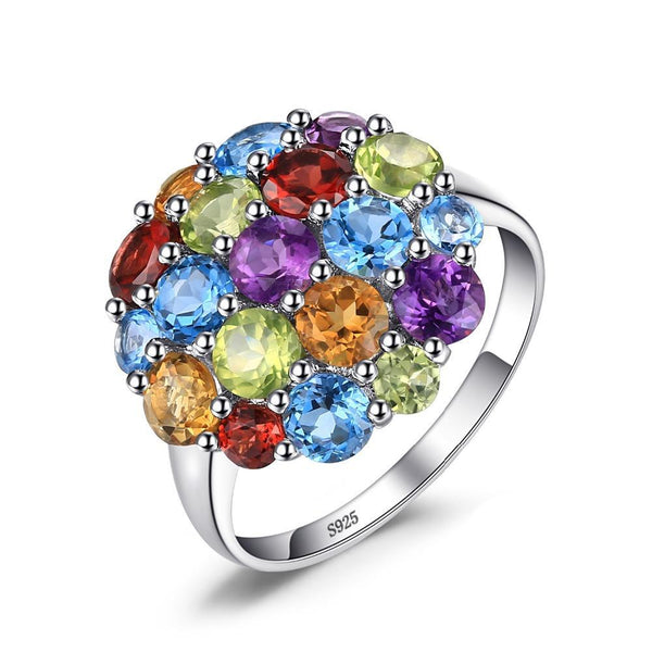 4.4ct Multicolor Multi-Gemstone Sterling Silver Ring 1417