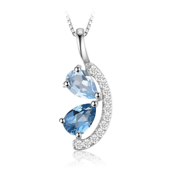 1ct Sky Blue Topaz and London Blue Topaz Pendant - Without Chain 1547