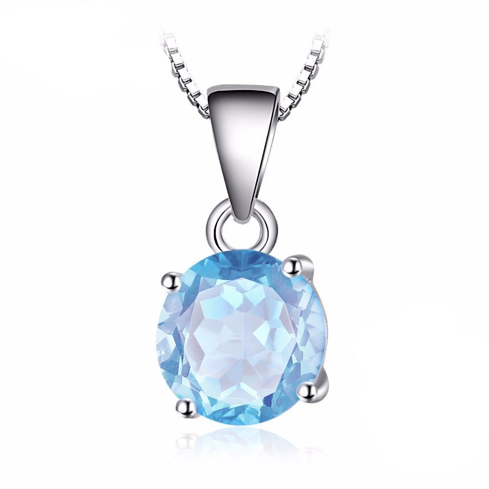 Round Cut 2.4ct Natural Sky Blue Topaz Pendant  - Without Chain 1570