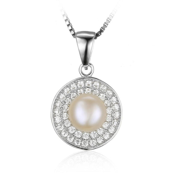 7mm Freshwater Cultured White Pearl Halo Pendant 1499