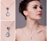 2.80ct Pear-Cut Cubic Zirconia Blue Spinel Drop Pendant Necklace 1505