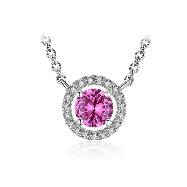 1.2ct Sapphire Sterling Silver Solitaire Necklace 1503