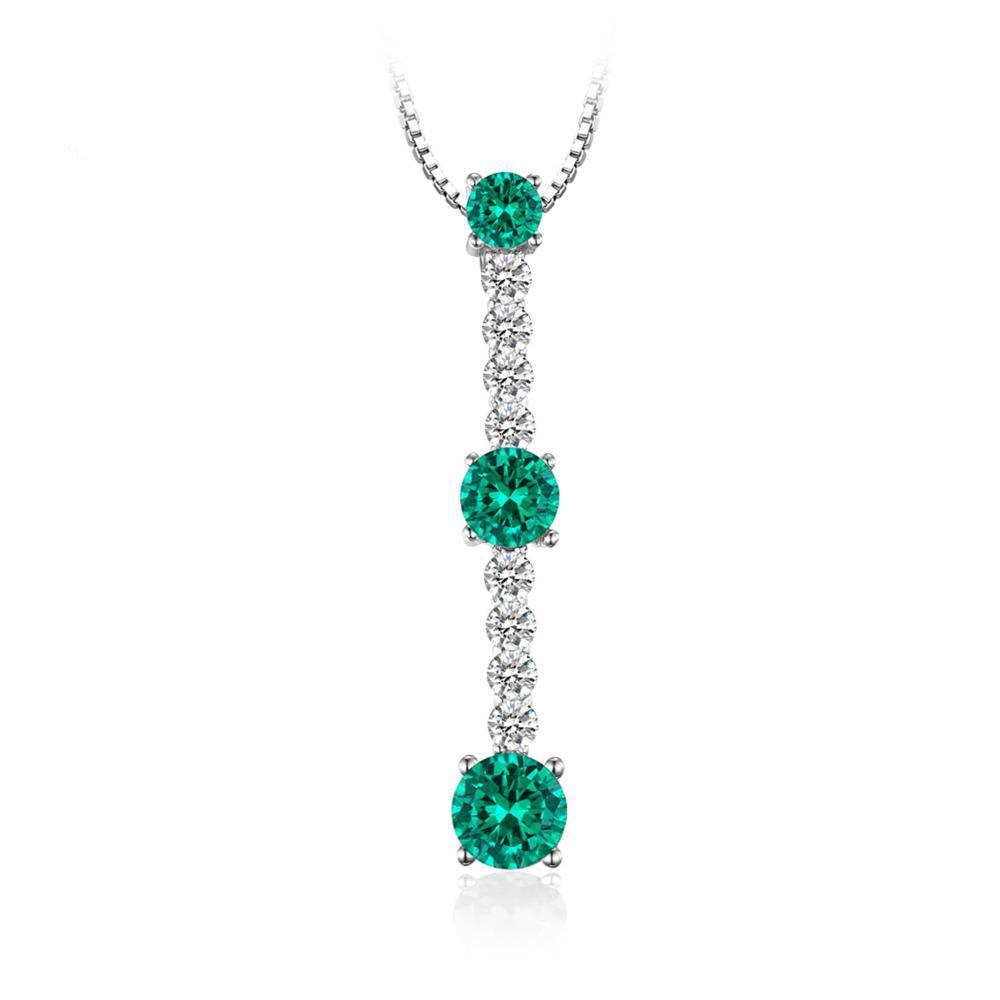 2ct Round 3 Stone Emerald Pendant Necklace 1488