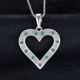 Sterling Silver Emerald Heart Pendant - Without Chain 1441