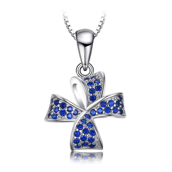 Flower Knot 0.22ct Blue Spinel Pave Pendant Necklace 1450