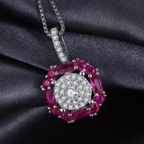 1.26ct Halo Ruby Pendant Necklace 1493