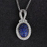 0.32ct Blue Spinel Pave Pendant Necklace - Without Chain 1502