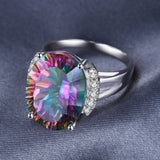 13ct Natural Rainbow Fire Mystic Topaz Vintage Ring 1424