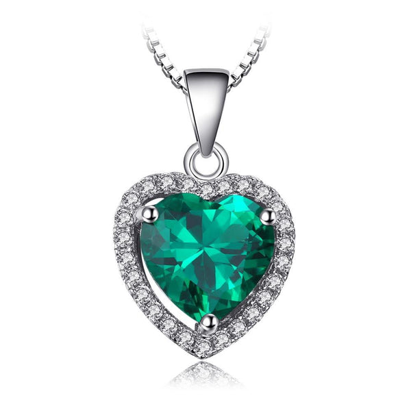 Heart Of Ocean 2.4ct  Green Emerald Halo Pendant - Without Chain 1501