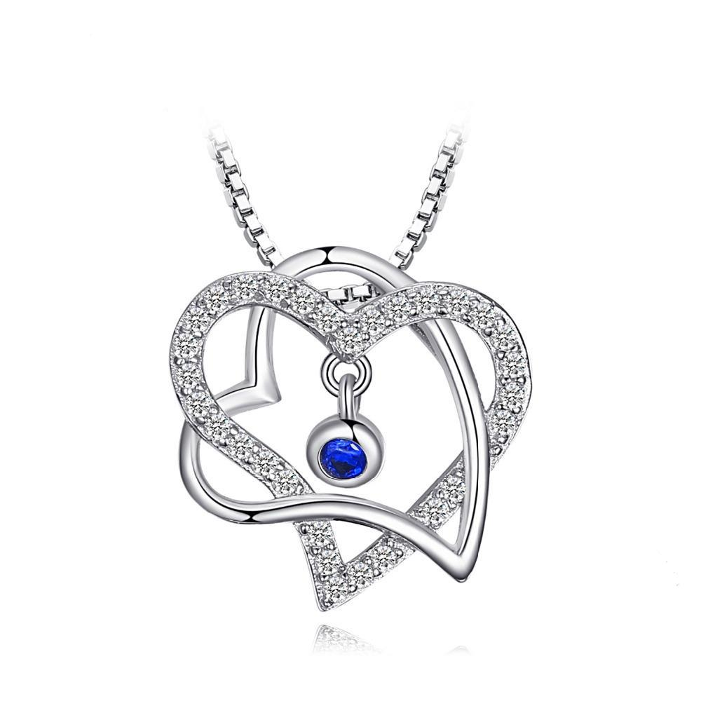 Romantic Double Heart 0.18ct Sapphire Pendant - Without Chain 1469